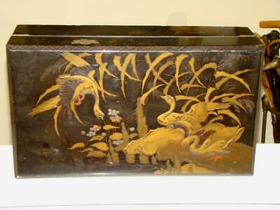 Antique 19thc JAPANESE Gilded LACQUER Ware Slope Desk Box, Cranes AS IS