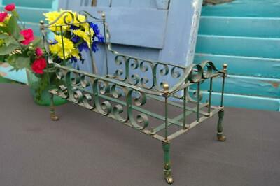 Antique Victorian Wrought Iron & Brass Dolls Bed QUIRKY Garden Pot Stand Planter