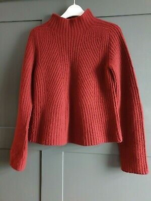 ANTHROPOLOGIE Jumper Virgin Wool / Cashmere Chunky Ribbed XS Red #J4