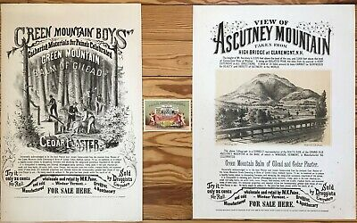 Antique Posters and Trade Card, Ascutney Mountain and Balm of Gilead, ca. 1868