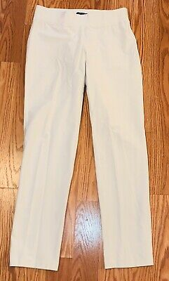 Eileen Fisher Off White Ivory Washable Stretch Crepe Jersey Slim Ankle Pants PS