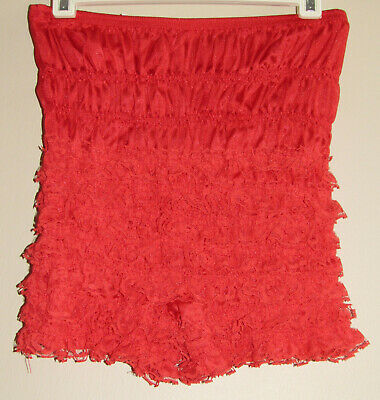 Vtg Malco Modes Nylon Lace RED Sissy Bloomers Shortie Panty Sz Small