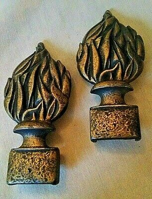 Judd Curtain Tie Back 2 Piece Set Torch Flame Fire Theme Vintage Metal End Only.