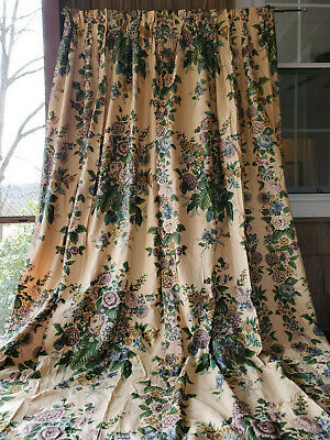 Antique 1920's Vtg Purple Floral Blue Bouquet Print Drapes Valance 1of2 pair 94L