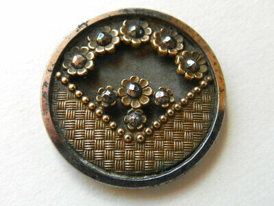 """Antique Victorian Metal Steel Cup Button Woven and Small Flower Facets 1-1/16"""""""
