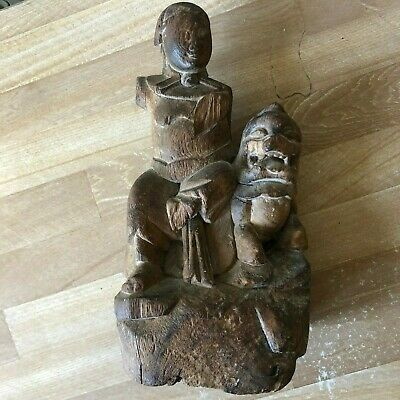 Chinese Carved Wood Statue of Buddha or other Figure & Mythical Beast