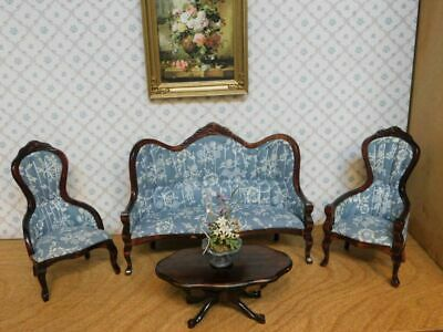 Dollhouse Miniature Victorian Wood Blue & White Floral Living Room 4 pc Set