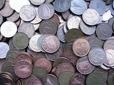 Six Irish Decimal Twopence Coins Ireland 2p Two Penny Coin Stylized Bird Vintage