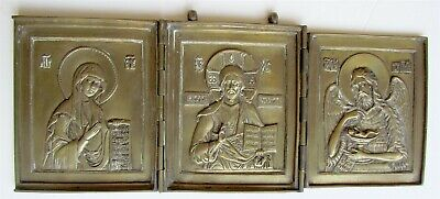 early 19th CENTURY ANTIQUE RUSSIAN BRONZE ICON TRYPTICH of DEISIS