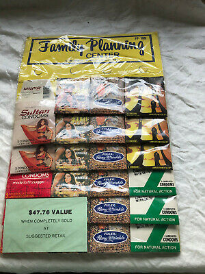 Vintage Family Planning Center Condom Display of 23 Assorted Packages