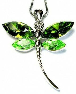 ~Green DRAGONFLY~ made with Swarovski Crystal Bug Nature Bridal Necklace Jewelry
