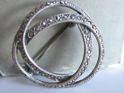 Vtg Sterling Silver Marcasites Double Circle Classic Pin Brooch