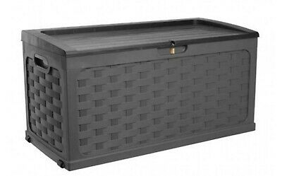 Garden Plastic Storage Box Rattan Style Chest Outdoor Large Shed SitOn Lid 335L