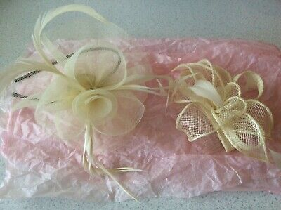 2 x Cream/beige Fasinator Headband , Perfect For Weddings And Races 😍