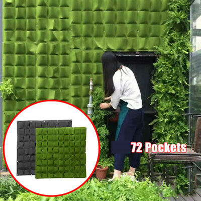 72 Pocket Planting Bag Hanging Wall Vertical Planter Hanging Flower Herb Garden