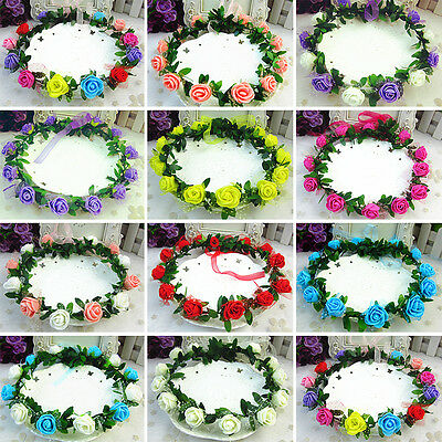 Women Boho Rose Flower Floral Garland Hairband Crown Festival Headband Party