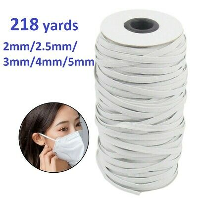 218yards Round/Flat Elastic Cords Stretch Thread DIY Face Masks Ties Rope White