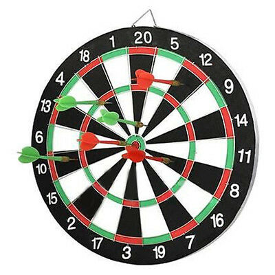 "UK NEW Large 14"" Dart Board Set Dartboard Family Party Game Fun With 6 Darts POP"