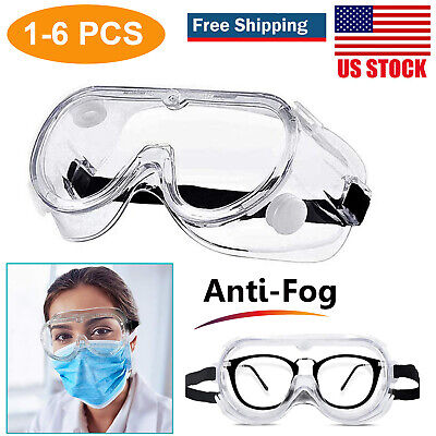 Clear Anti Fog Safety Glasses Scratch Resistant Eye Protection Work Lab Goggles