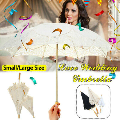 Wedding Umbrellas Parasol with Lace Embroidered Print Flower Home Party Decor!
