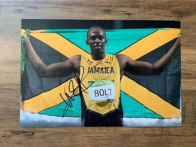 USAIN BOLT - Hand Signed 12x8 Photo - Jamaica Olympics Gold Record - Athletics