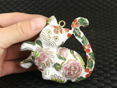 chinese lovely cloisonne White lovely cat statue netsuke collectable pendant