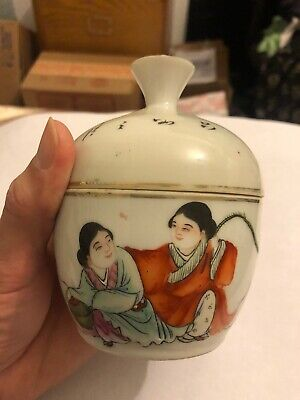 Antique Chinese Porcelain Cup Box immortal Lucky Boys Vintage Asian Old China