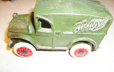 """Cast Iron Hubley Green Antique Delivery Truck  5"""" Long"""
