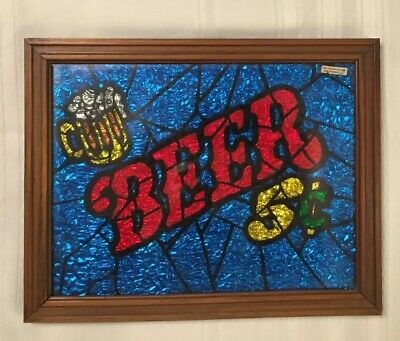 Vintage 1970s BEER SIGN 5 cents Glitter Foil ART A&F Prod  like Stained Glass