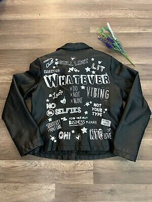 Girls Size 14 Atmosphere Faux Leather Coat ( Modern Catch Phrase) Painted