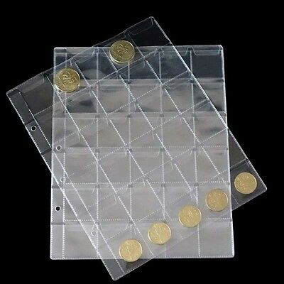 10Pages 30 Pockets Classic Coin Holders Sheets for Storage Collection Album ND