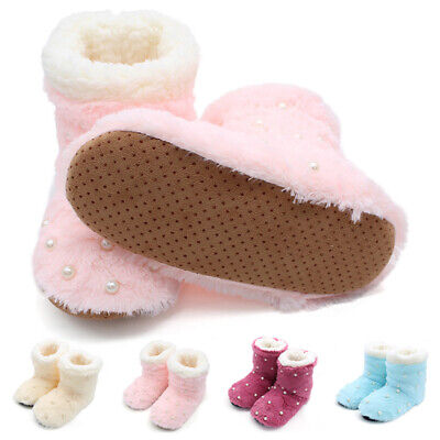 Lady Glitter Warm Fleece Boots Bootie Reversible Sequins Slipper Socks Shoes