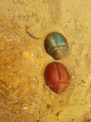 Rare Antique Ancient Egyptian 2 Scarabs Good Luck precious Stone 1810-1730 BC