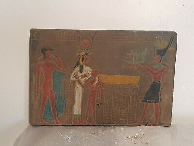 Rare Antique Ancient Egyptian Stela God Isis Horus Boat Good Health 1525–1504 BC