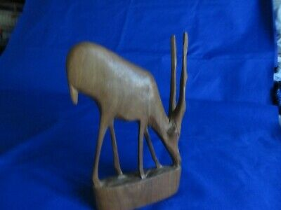 """Hand Carved Gazelle Base Is 4 ½"""" By 1"""" Stands 7 ¾"""""""