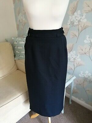 Gorgeous *Marks And Spencer* Navy Blue Textured Paper Bag Midi Skirt 12