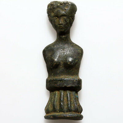 Museum Quality Ancient Roman Bronze Female Bust Ornament Circa 100-400 Ad