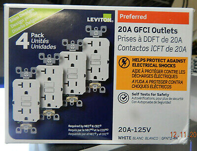 Leviton 20A 125V Self-Test Slim Fit GFCI Outlet - White, 4 Pack (GFNT2-4W) NEW