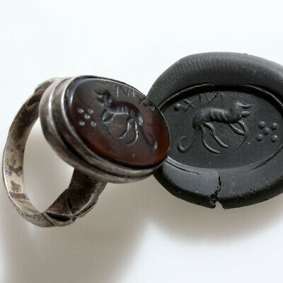Museum Quality Ancient Bactria Silver Seal Intaglio Ring Circa 200-100 Bc
