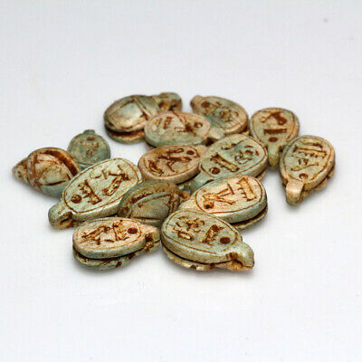 Lot Of Ancient Egyptian Glazed Scarabs Pendants Circa 300-100 Bc