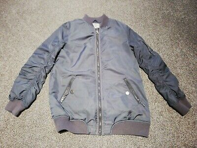 Girls Next Grey Bomber Jacket Warm Coat Age 14 Years Vgc (Ideal for School)