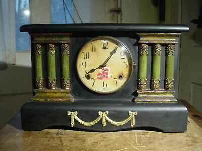 Antique Rare Coca Cola Advertising Black Mantle Or Shelf Clock  Working
