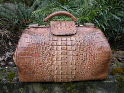 "Antique Victorian 16.5"" Alligator Satchel, Large Hornback Scales, Doctor's Bag"