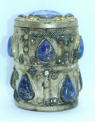 OLD TURKOMAN PERSIAN LAPIS LAZULI SILVER PYXIS BOX as found