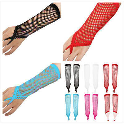 Women Fishnet Long Gloves Mesh Sheer Fingerless Finger Loop Mittens Night Club