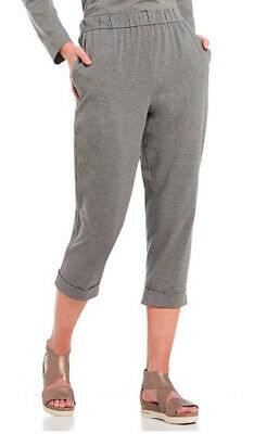 Eileen Fisher Moon Gray Heathered Stretch Jersey Slouchy Cropped Pants 3X Nwt