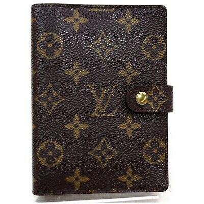 Authentic Louis Vuitton Diary Cover R20005 Agenda PM Browns Monogram 1207386