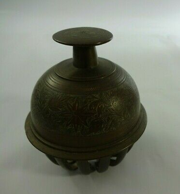 """Vintage Elephant Claw Bell Etched Brass Engraved Ornate Estate Find 3.75"""" Tall"""