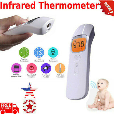 Non-Contact Body Thermometer Digital Forehead Gun Fever Adult FDA LCD USA
