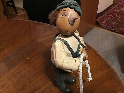 VTG WWII Hand Carved Wood German Black Forest Folk Art Man Musical &Antimated 9""